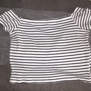 blue/white stripped off shoulder- crop